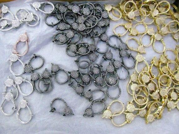 6 pièces 18-50mm De Qualité Supérieure Micro Cristal Pave Diamant Bijoux Fermoir Bronze Argent Rose Or Bijoux Connecteur