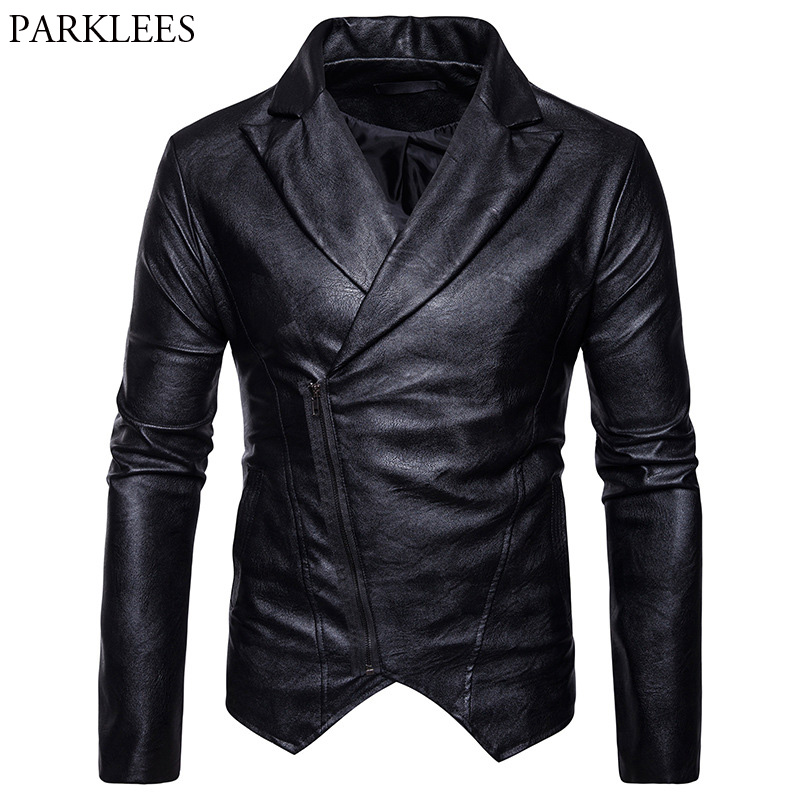 Fashion Mens Oblique Zipper PU Leather Jacket 2017 Casual Men Motorcycle Leather Jackets Veste Cuir Homme Male Leather Jackets