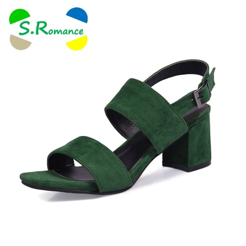 Ayakk.'ten Yüksek Topuklular'de S. romantik Kadın Sandalet Artı Boyutu 34 43 Moda Yaz Toka Kayış Yüksek Topuk Ofis Bayan Pompa Bayan Ayakkabıları Siyah yeşil SS993'da  Grup 1