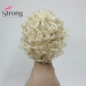 Image 4 - StrongBeauty Short Soft Shaggy Layered Cute Blonde Curly Wavy Short Synthetic Womens daily full Wig