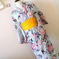 2017 New Japanese Kimono Cosplay Traditional Cotton Bathrobes Japan Kimono Flower Yukata Women Bath Robe Floral Sleepwear 80301