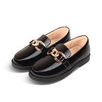 New British style Black Loafers Children Leather Shoes Girls Student Toddler Low heeled Baby Moccasins Princess Kids Shoes 02B
