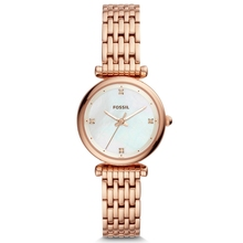 FOSSIL Women Watches Carlie Mini THREE-HAND Rose Gold-Tone Stainless Steel Watch Luxury Wrist Watches for Women ES4429P amica 2018 women s d ceramics quartz sapphire rose gold tone stainless steel wrist watches a1 eight colors