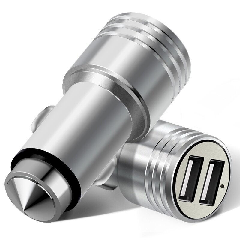 Car-Charger USB Car Charger Quick Fast Metal Lighter Charger 2 USB for iPhone for Xiaomi for Huawei Phone Tablet GPS Power Bank