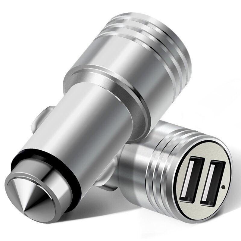 Cargador de coche USB Cargador de Coche Rápido Rápido Cargador 2 USB de Metal Má