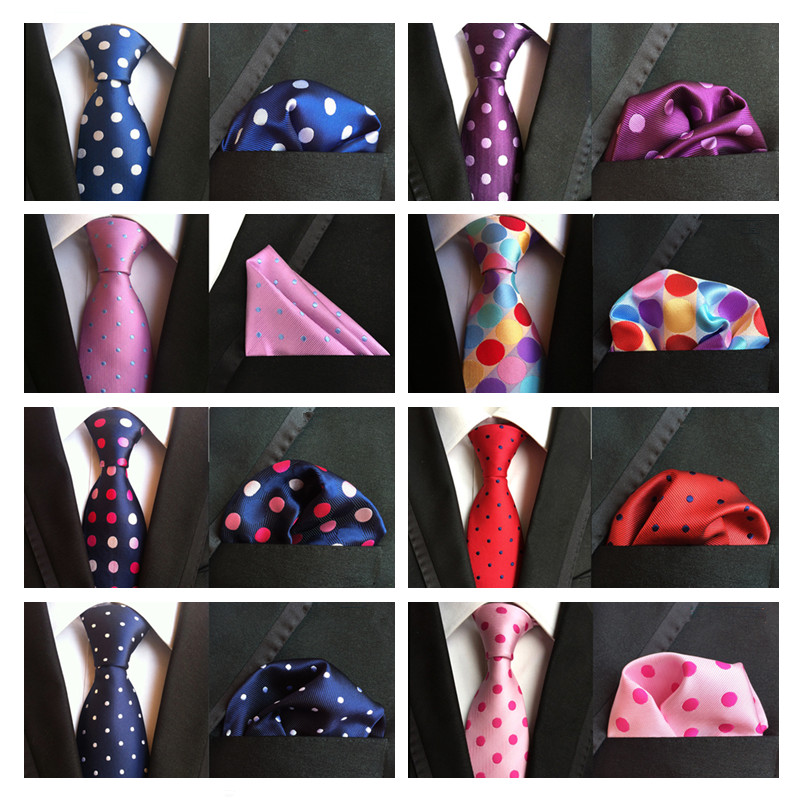 New Design Polka Dot Silk Tie Set For Men 8cm Tie Men Handkerchief Necktie Cravate Man Corbatas Hombre Floral Slim Wedding Tie