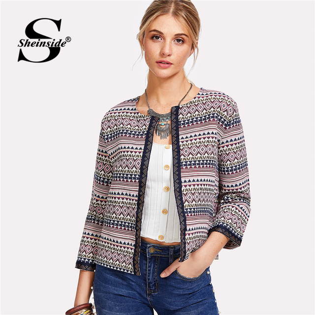 bfd78d0132 Sheinside Autumn Jacket Women Embroidered Tape Detail Geo Print Coat Ladies  Outerwear 2018 New Clothes Womens