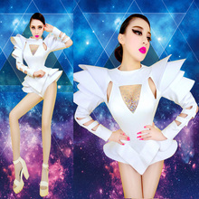 White&Green Bodysuit Jazz Dance Costumes Bar Dj Dancers Sexy Nightclub DS Singer Rave Cloth Rhinestone Jumpsuit Stage Show Dress