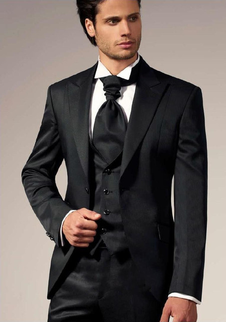 Modest Black One Button Slim Fit Men Suits Groom Tuxedos Mens