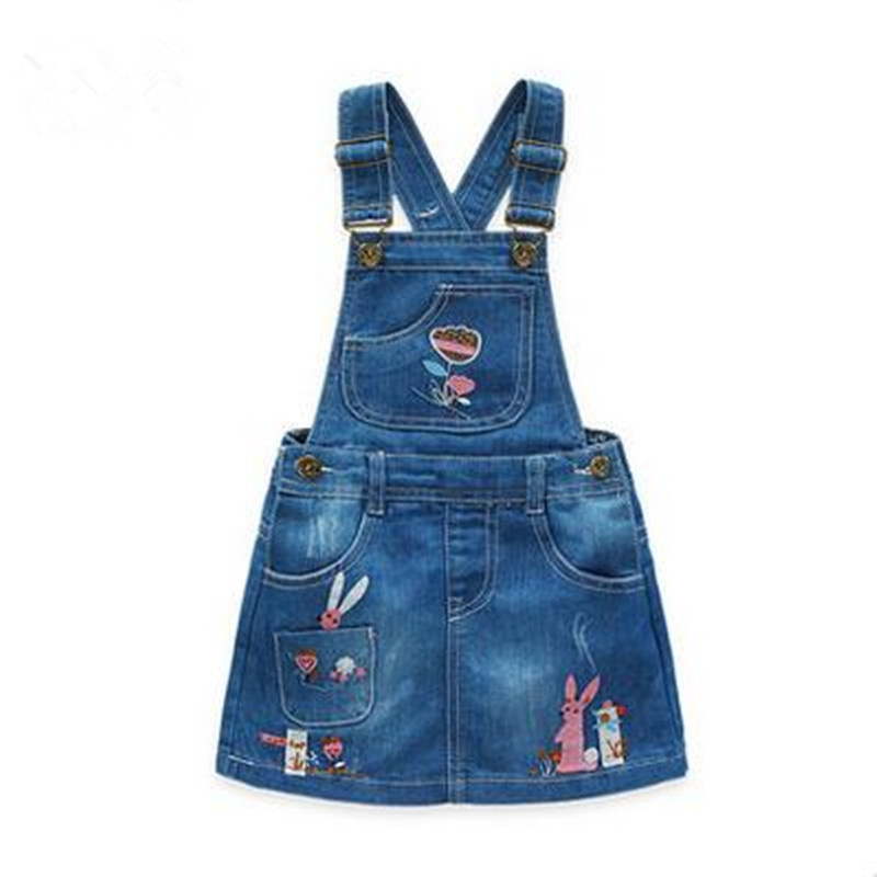 Nueva Llegada 2017 Girls Denim Sundress Girls Silver bordado Sundress Kids Suspender Denim dress Niño Casual Sundress