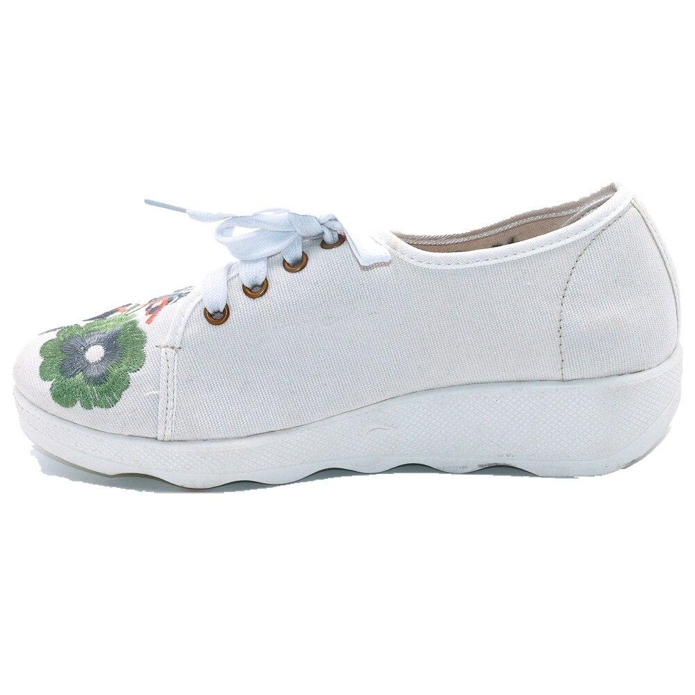 Talon Dames Pompes Chaussures Pour Rétro forme Plate Fleur Broder Sneakers Filles Lacent Piste Haute Casual Femmes Toile Coins 7AAOPwnFq