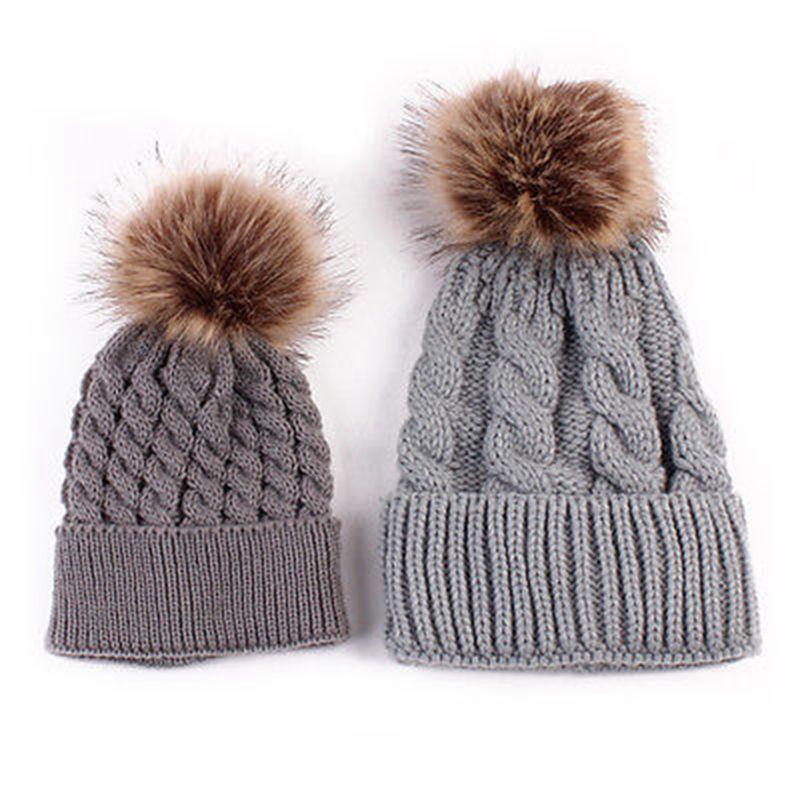 2Pcs/set Mother Child Baby Warm Winter Knit Beanie Fur Pom Hat Crochet Ski Cap hot winter beanie knit crochet ski hat plicate baggy oversized slouch unisex cap
