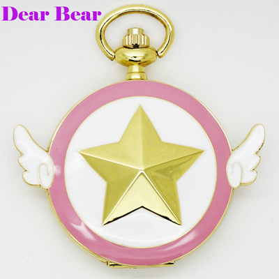 (1055) NEW Gold Tone Cartoon Anime Cardcaptor Sakura Star Wing Pocket Watch,12pc