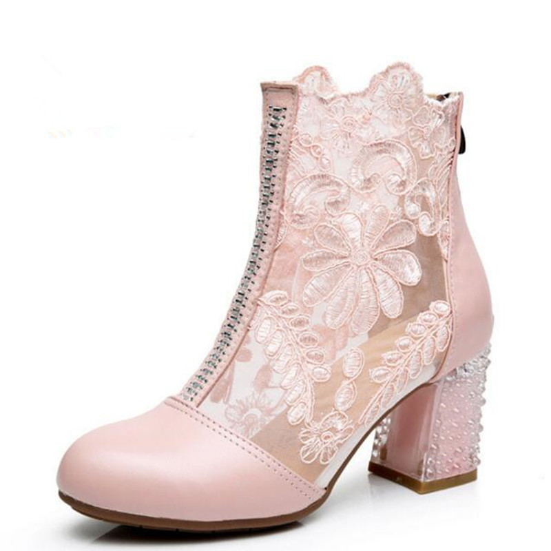 2016 summer genuine leather sandals fish head hollow lace high-heeled sandals thick with cowhide cool boots women sandal shoes