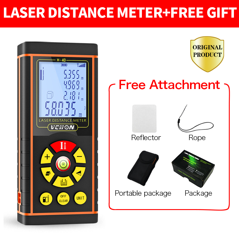 Vchon Digital Laser Distance Meter electronic Laser Tape Range Finder ruler Area Diastimeter Measure laser distance meter ruler portable d100 100m electronic digital laser power tape measure
