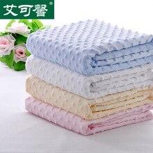 Export baby knitted fleece blanket baby double spring super soft fleece blanket blanket hole