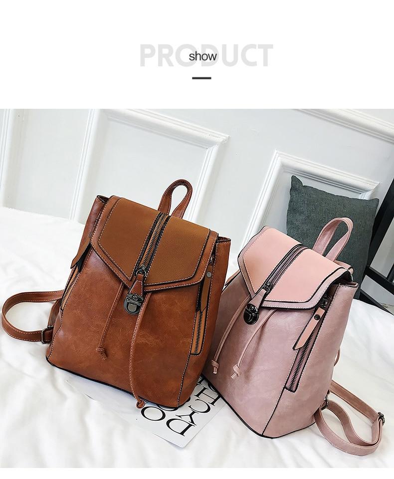 HTB11EfVbUGF3KVjSZFvq6z nXXat Vintage Matte Leather Women Backpacks High Quality Multifunctional Shoulder Bag Female Girls Backpack Retro Schoolbag XA533H