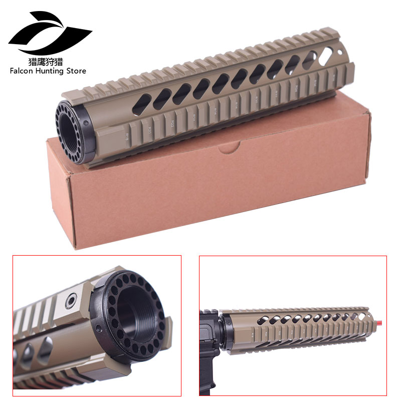 Tactical T-Series 223/5.56 Rifle 10 Inch  Length  Free Float Quad Picatinny Rail Handguard Black /Tan For Standard Carbine AR15 Tactical T-Series 223/5.56 Rifle 10 Inch  Length  Free Float Quad Picatinny Rail Handguard Black /Tan For Standard Carbine AR15