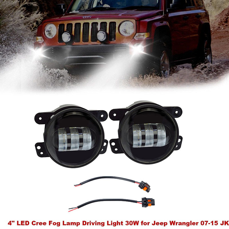 For Jeep Wrangler Bumper 4 inch led fog light 30W high power led fog light lens Auto DRL Lamp led headlight for opel astra h gtc 2005 15 h11 wiring harness sockets wire connector switch 2 fog lights drl front bumper 5d lens led lamp