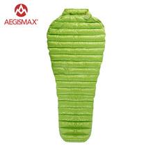 AEGISMAX Outdoor Camping Ultralight 95 puch gęsi śpiwór mumia trzysezonowy śpiwór na zewnątrz nadmuchiwany leżak lazy Bag tanie tanio Wiosna i jesień Lato Łączenie singiel śpiwór [15℃ ~ 5℃] AEGIS MINI Wiosna i jesień śpiwór Wydłużony (1 8 m-2 m wysokości)