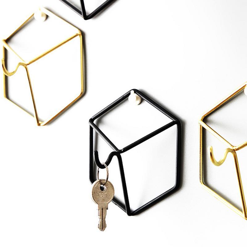 Enthousiast Nordic Stijl Smeedijzeren Geometrische Hanger Haak Muur Opknoping Slaapkamer Kleding Sieraden Muur Opslag Decoratie Gebruiksgoederen