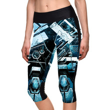 New 1143 Sexy Girl Women Mecha Blue Iron Man 3D Prints Workout Fitness stretchy elastic Cropped Trousers Leggings Pocket Pants