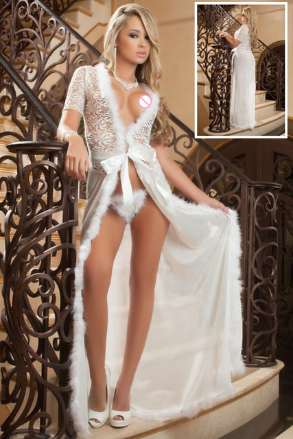 New 2017 Women Sexy Lingerie Hot Exotic Apparel New Sexy Sleepwear Sensual Lace Fur Trim Glam Night Robe LC60365 plus size