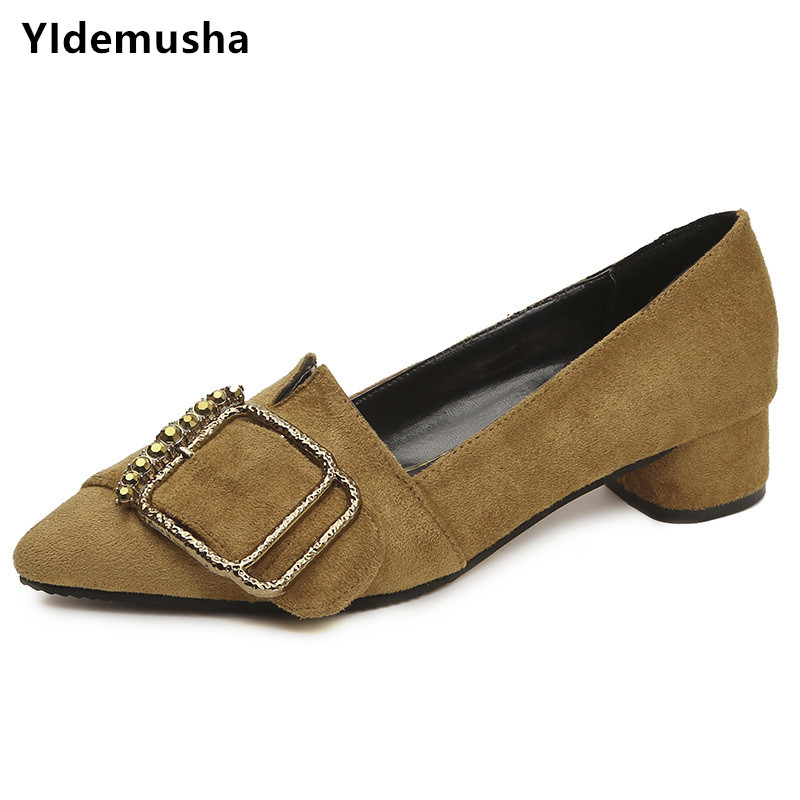 YIdemusha 2018 Women Pumps Sweet Style Low Square Heel Pointed Toe Casual Shoes Spring Autumn Buckle Shallow Ladies Flock Shoes