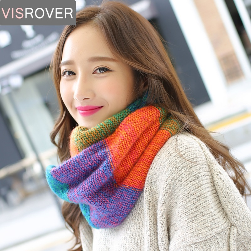 VISROVER Autumn Winter Lic Women Scarf Warm Infinity Snood Ladies Ring Loop Scarf Fashion Unisex Circle Kniited Neckchief