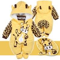 Hiver Bébé Barboteuses Flanelle Bébé Garçon Vêtements Girafe de Bande Dessinée À Capuchon Salopette Enfant En Bas Âge Bébé Filles Costume D'une Seule Pièce de Salopette
