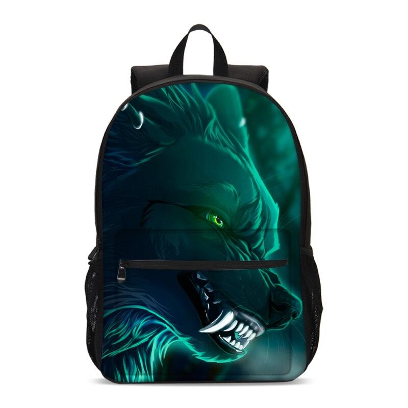 Fashion Fantasy Cool Animal Wolf Printing Backpacks For Boys Girls School Bag Teenage Children Bookbag Satchel Mochila Escolar