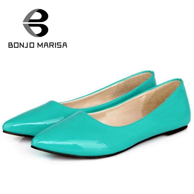 ФОТО Big size 34-43 2015 Women Flats Sexy Pointed toe Candy Color Patent PU Women's Summer Spring Shoes Less Platform Flats
