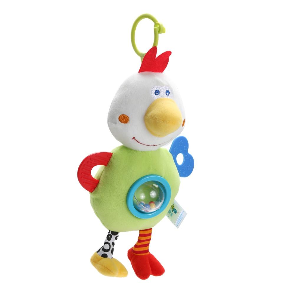 Baby Cute Plush Animals Chicken Plush Stuffed Toy Chicken Handbell Teether Baby Kids Educational Baby Stroller Plush Doll Toy