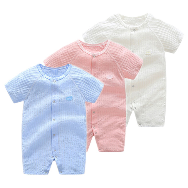 a03dd8dec6460 Baby Rompers 2018 Summer Newborn Boy Girl Clothes Ribbed Toddler Clothing  Cotton Infant Short Romper Roupas Bebes Baby Jumpsuit