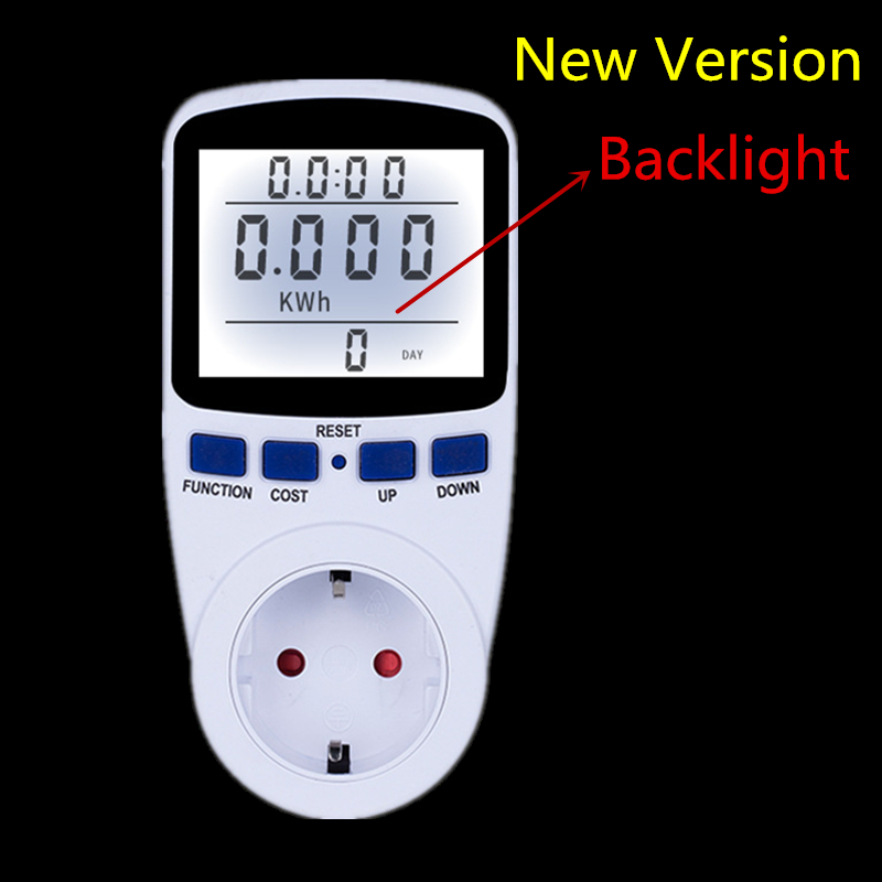 Digital Energy Meter Wattmeter with Backlight Electronic Power Meter Record Volt Voltage Outlet Socket Meter Energy Analyzer hp9800 pc usb port 4500w 85v 110v 220v 265v ac 20a electric power energy monitor tester watt meter analyzer with socket output