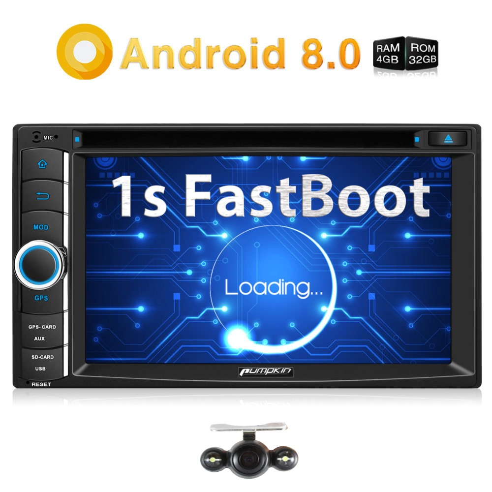 Pumpkin Qcta-Core Android 8.0 Car Radio 2 Din 6.2''Car Stereo DVD Player GPS Navigation 4GB RAM Wifi 4G DAB+ FM Rds Radio Player android 8 0 2 din 7 universal car radio no dvd player gps navigation 4gb ram car stereo fm rds wifi 4g dab headunit