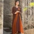 Moda Otoño 2016 ZANZEA Mujeres Vestido Causal Flojo de Algodón de Manga Larga de Remiendo de La Vendimia Vestido Largo Maxi Vestidos Más El Tamaño 5XL