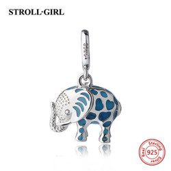 Fit pandora Charms pendant Bracelet Silver 925 original growing elephant dangle beads with enamel DIY fashion Jewelry for gifts