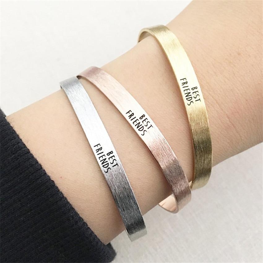 Rose Gold Pulseiras Masculina 2018 BFF Jewelry Friendship Gift Cuff Bracelet Best Friends ID Bracelets & Bangles For Women Men