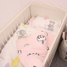 3pcs/set 100% cotton baby bedding set Elephant and Clouds on the pink design included duvet cover flat sheet pillowcase for girl
