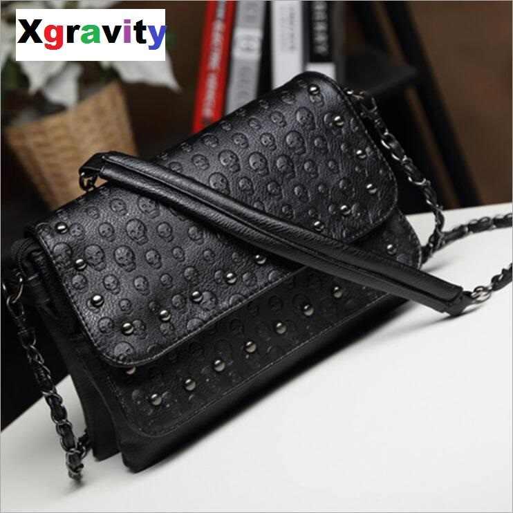 Xgravity Messenger Bag Rivet Skull Tote Handbag Travel Crossbody Bolsas  Femininas Rivet Punk Shoulder Bags Studded 8eda45befee1