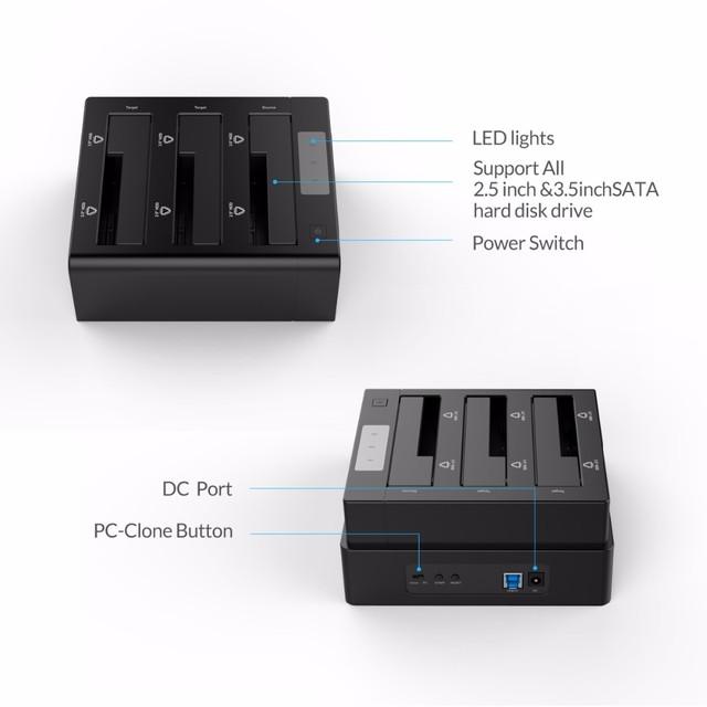 ORICO 3-Bay USB 3 0 HDD Dock Station for 2 5 3 5 inch SATA Hard Drive HDD Support Clone With 12V5A Power Adapter Support 18TB tanie i dobre opinie ORICO 6638US3-C 3 5 2 5 Plastikowe Godzin 6TB*3=18TB(not including HDD) 3-Bay USB 3 0 Duplicator Dock 3*6TB 2 5 3 5 SATA HDD