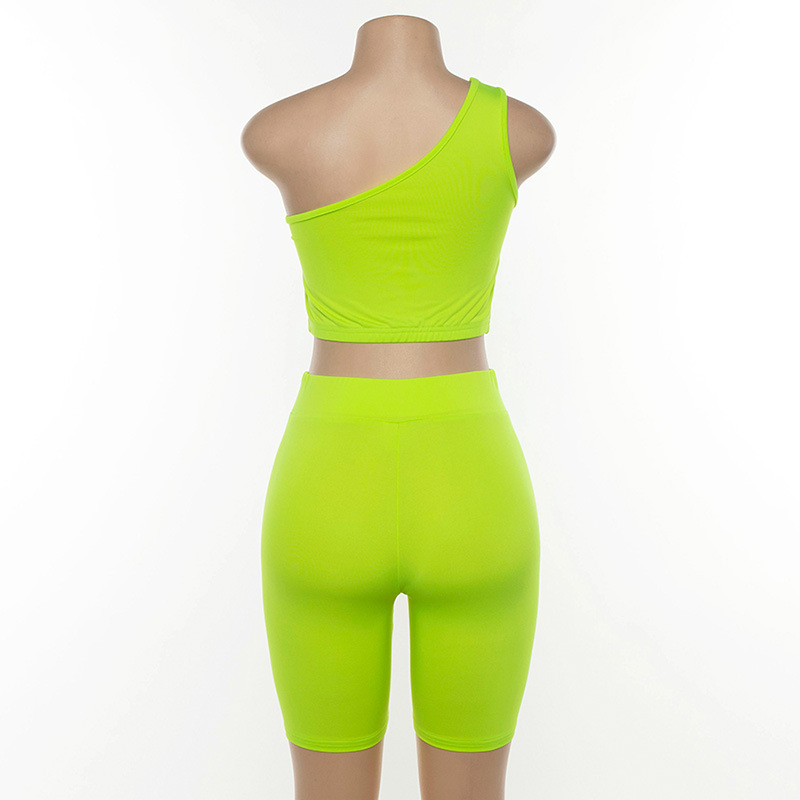 Simenual Neon Color Women Two Piece Set One Shoulder Casual Tracksuits Cut Out Crop Top And Biker Shorts Sets Sporty Active Wear 6