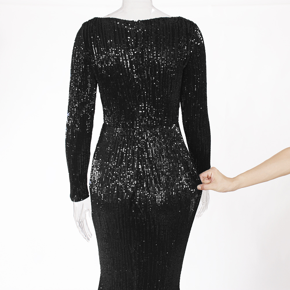 Black Sequined Maxi Dress Stretchy Full Sleeved Floor Length O Neck Full Lined Party Long Dress