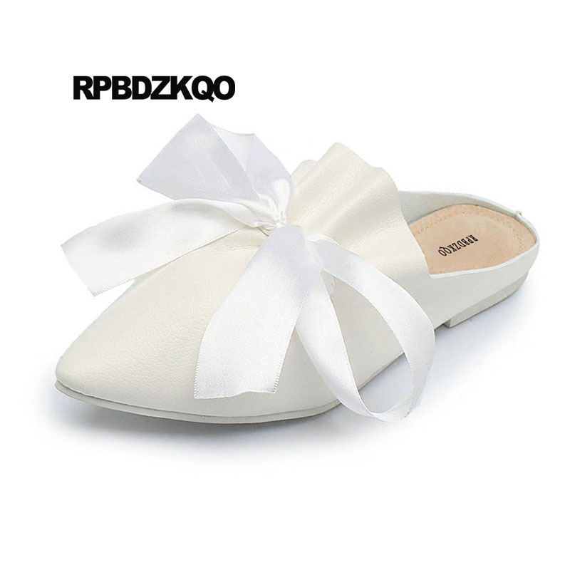 China Large Size Ladies Sandals Big Bow White 2018 11 Beautiful Flats Shoes  Designer Pointed Toe Slippers 10 Mules Wedding Women - aliexpress.com -  imall. ... e0359741d226