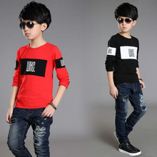 Boy Print Blouse Boys Long Sleeve Letter Print Blouse Boys Clothes Printed Lovely Patches With 100% Cotton Blouse