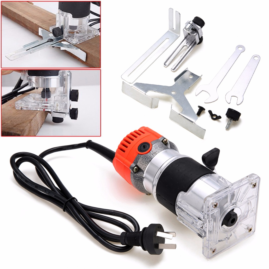 1 Set 800W 220V Electric Hand Trimmer 6.35mm Collect Diameter Wood Laminate Palm Router Joiner Tool For Woodworking Drilling