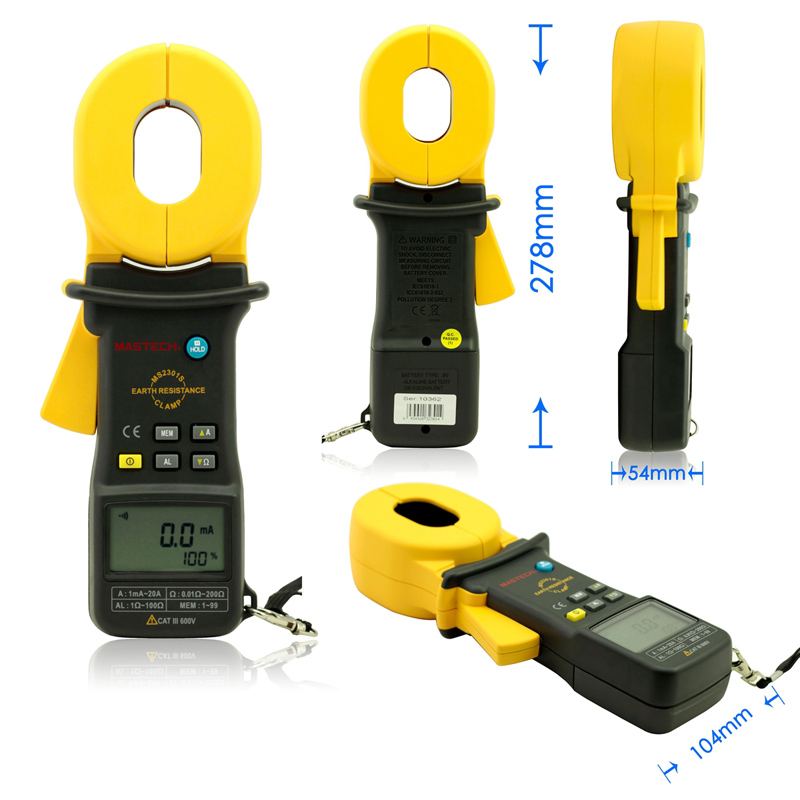 MASTECH MS2301S Clamp Meter Earth Ground Resistance Tester Meter / Resistance Detector / Megger / Meg Ohm Meter mastech ms2302 digital earth resistance tester meter 100 groups data logging with backlit 0ohm to 4k ohms free shipping