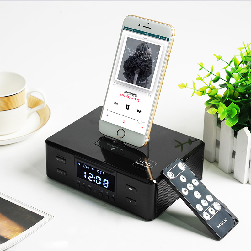 где купить ALWUP Bluetooth Speakers Support Alarm Clock NFC FM Radio Dock Station Type-C Micro Wireless charger for iPhone 6 7 8 Plus по лучшей цене