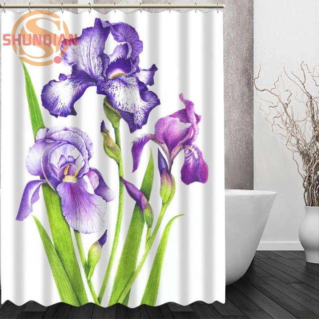 iris flowers Shower Curtain Eco friendly Modern Fabric polyester ...